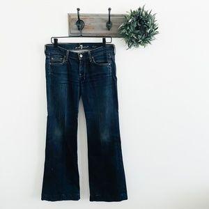 7 For All Mankind Dark Dojo Flare Jeans 28